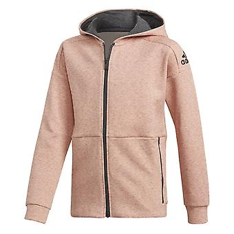 Adidas Girls Id Stadium Hoodie Coral And Black Colourway
