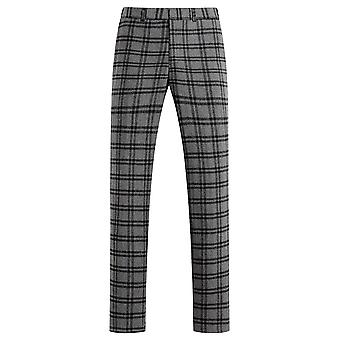 Allthemen Men 's Plaid Casual Pants Breathable Straight Fit Calças