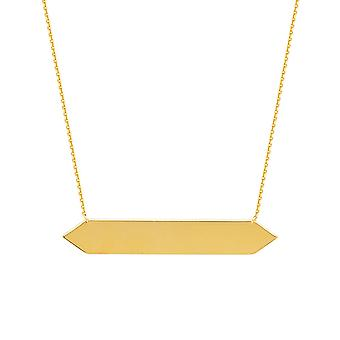 14k Yellow Gold Adjustable Hexagon Bar Necklace Sparkle Cut Cable 18 Inch Jewelry Gifts for Women