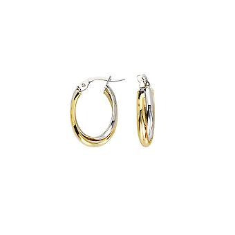 10k Yellow and White Gold Interwoven Tube Design Earrings Oval Baby High Polish Jewelry Gifts for Women