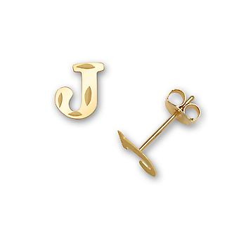 14k sárga arany levél neve személyre szabott monogram kezdeti J bélyegzés a fiúk vagy lányok fülbevaló intézkedések 6x6mm
