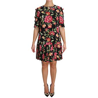 Dolce & Gabbana Black With Multicolor Crystal Roses A-Line Shift Dress
