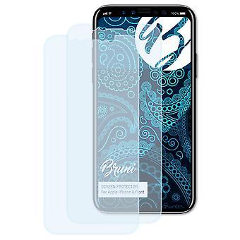 Bruni 2x Schutzfolie kompatibel mit Apple iPhone X Front Folie