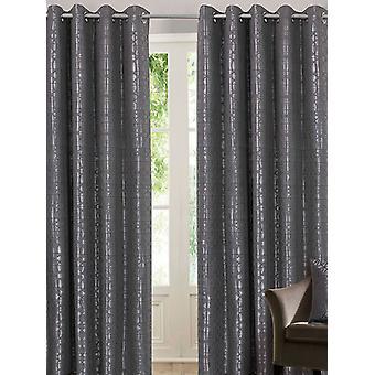 Belle Maison Lined Eyelet Curtains, Tuscany Range, 46x72 Silver