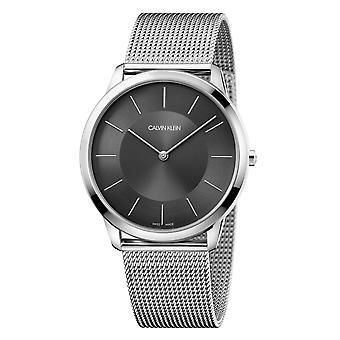 Calvin Klein minimale zwarte wijzerplaat zilver roestvrijstaal Unisex horloge K3M2T124 43mm