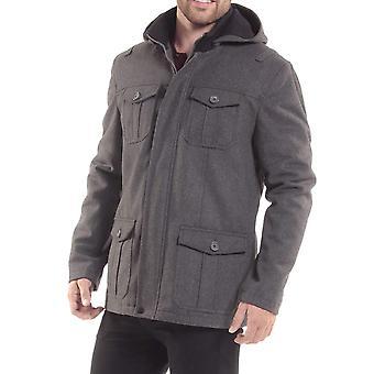 alpine swiss Noah Mens 8 Cargo Military Pocket Zip-Out Hood, Gray, Size Large