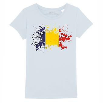 STUFF4 Girl's Round Neck T-Shirt/Romania/Romanian Flag Splat/Baby Blue