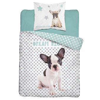 Traum große Bulldogge einzelne Baumwolle Bettbezug Set - europäische Größe