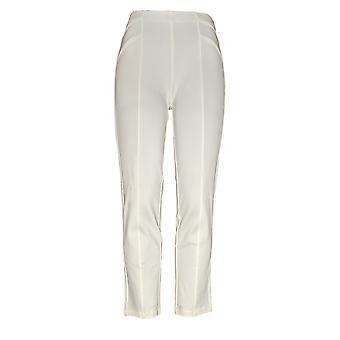 Susan Graver Women's Petite Pants Ponte Knit w/ Naad Detail White A372470