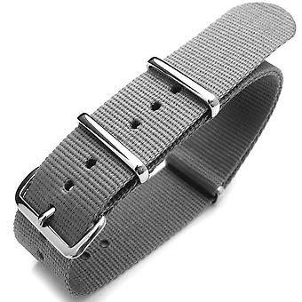 Strapcode n.a.t.o watch strap 20mm or 22mm nato  heat sealed heavy nylon polished buckle - light m. grey