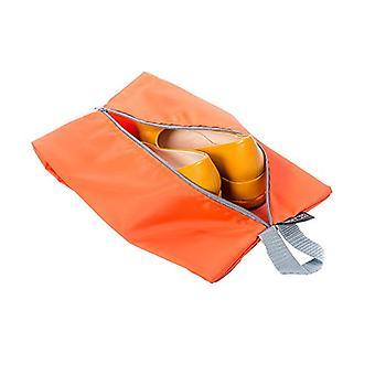 Itens essenciais por Loft 25 Impermeável Organizador de Bagagem de Bagagem Zipper Sacos de Sapato, Laranja - Pacote de 4 (2 x tamanho padrão, 2 x tamanho grande)