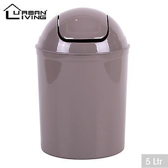 Taupe plástico 5 litros Mini Swing Top Tapa Papelera Oficina Hogar Baño Aseo