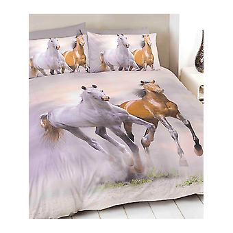 Galoppierende Pferde Bettbezug und Kissenbezug Set