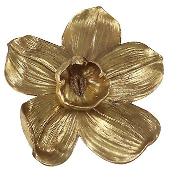 Polyresin Orchid Wall Hanging Decor met prominente anther, klein, goud