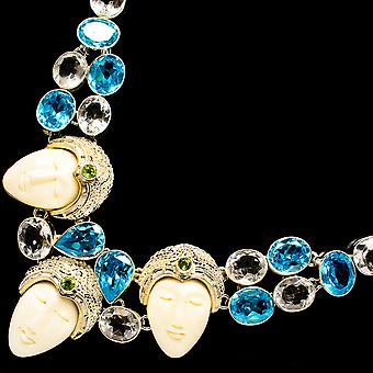 "Carved Face, Blue Topaz, White Quartz Necklace 18"" (925 Sterling Silver)  - Handmade Boho Vintage Jewelry NEC12030"