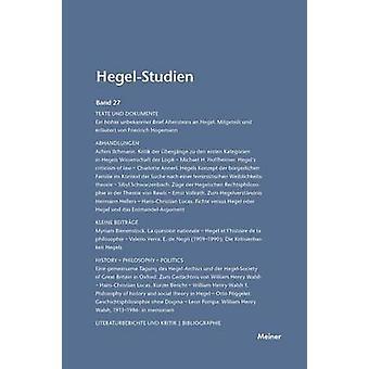 HegelStudien  HegelStudien Band 27 1992 by Pggeler & Otto