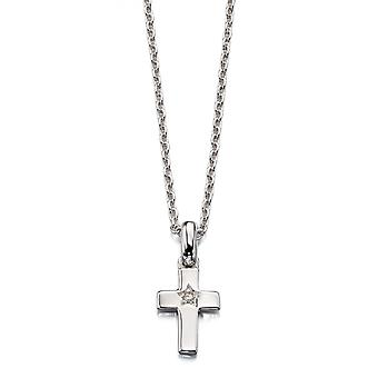 Little Star Grace Silver & Diamond Cross Children's Necklace