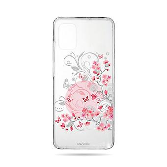 Runko Samsung Galaxy A71 joustavakukkia ja perhosia