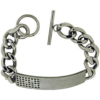 TOC Gents Crystal Set Stainless Steel Id Gridlock Bracelet with T-Bar Closure