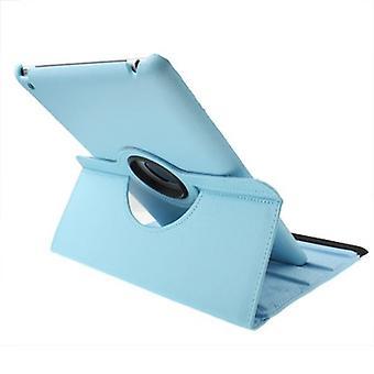 Para caixa iPad 2/3/4, capa de proteção durável de couro rotativo, azul bebê