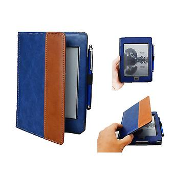Kindle Touch case with Stylus pen - PU leather - blue/brown