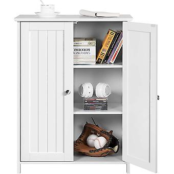 Bathroom Cabinets Free-Standing Storage Cupboard Unit with 2 Doors and Adjustable Shelf Kitchen/