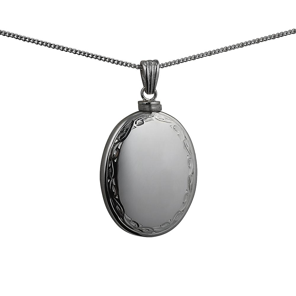Silver 35x26mm handmade hand engraved scroll edge plain centre oval Memorial Locket with a curb Chain 20 inches