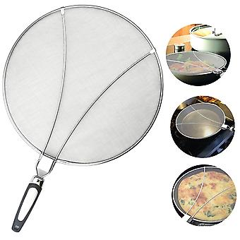 Splatter Guard For Cooking - Stainless Steel Splatter Screen Guard With Silicone Foldable Handing - Keep The Stove Clean!
