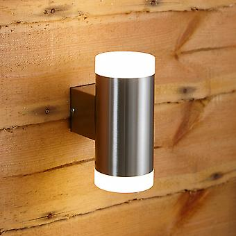 Biard Stainless Steel Modern Up Down LED Wall Light - IP44 Outdoor Garden Porch
