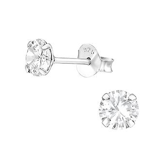 Round - 925 Sterling Silver Classic Ear Studs - W27193x