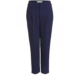 Oui Navy Check Pantalon imprimé