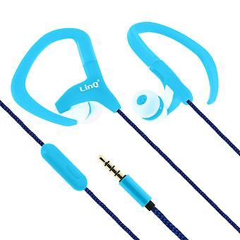 Sport Wired Earphones Ear Hooks- DS-2011- LinQ, Blue
