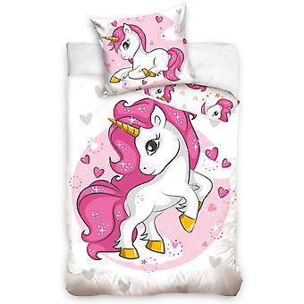 Unicorn Hearts Single Duvet Cover Set - Taille européenne