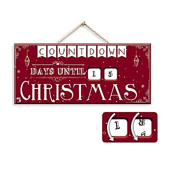 "Traditional Wooden Countdown ""Days until Christmas"" Hanging Advent Calendar"