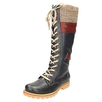 Rieker TEX Wool Lined Lace Up Shower Proof Flat Knee Boots Z1442-14