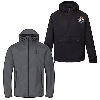 Newcastle United FC Official Gift Mens Half Zip Shower Jacket Windbreaker