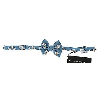 Dolce & Gabbana Light Blue Deck Of Cards Adjustable Neck Papillon Bow Tie -- FT11790256