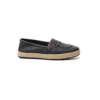 Salvatore Ferragamo 02c283729315 Men's Black Leather Espadrilles