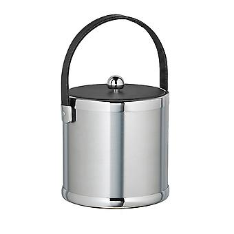 Brushed Chrome 3 Qt Ice Bucket With Black Stitched Handle And Fabric Lid