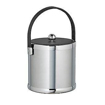 Brossed Chrome 3 Qt Ice Bucket Avec Poignée cousue noire et couvercle en tissu