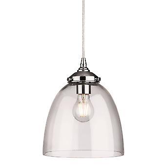 1 Light Dome Soffitto Ciondolo Cromo con vetro trasparente, E27