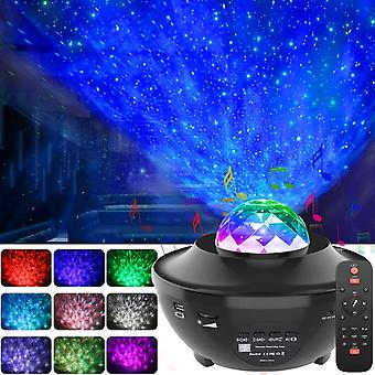 Colorful Starry Sky Projector Night Light Ocean Wave Star Ambiance Lamp With Bluetooth Music Speaker For Bedroom (light)