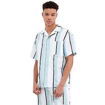 Nicce Stripe Shirt - White / Sterling Blue