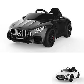 ES-Toys Kids Electric Car Mercedes AMG GT EVA Tire Leather Seat Licensed, Mp3