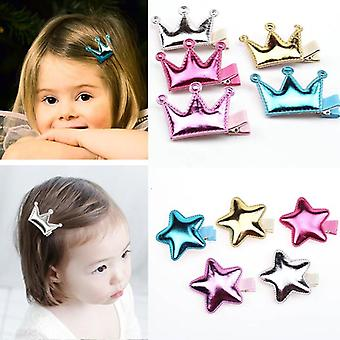 Cute Princess Style Crown Star Glossy Texture Headdress Hairgrips Baby Hair Pin