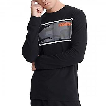 Superdry Core Logo Camo Stripe LS T-Shirt Nero 02A