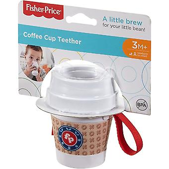 Fisher price coffee cup teether, clear top with colourful rattle beads inside,