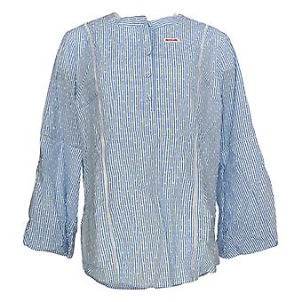 Isaac Mizrahi Live! Women's Top Striped Clip Dot Woven Blue A353157