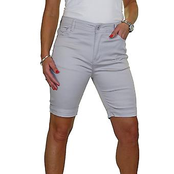 Women's Turn Up Plus Size Mid Rise Stretch Jeans Style Shorts Chino Sheen 14-24