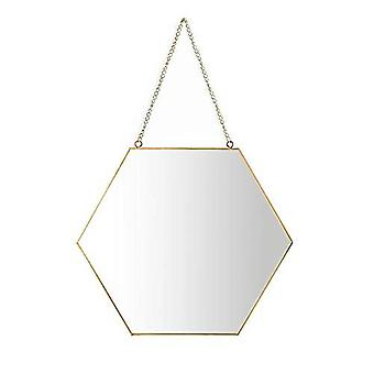 Hexagon Gold Rimmed Hanging Mirror